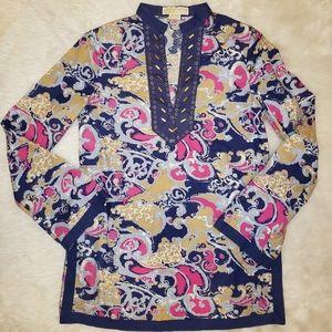 Michael kors linen tunic top size small petite